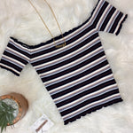 Striped Off The Shoulder Crop Top - Multi Color