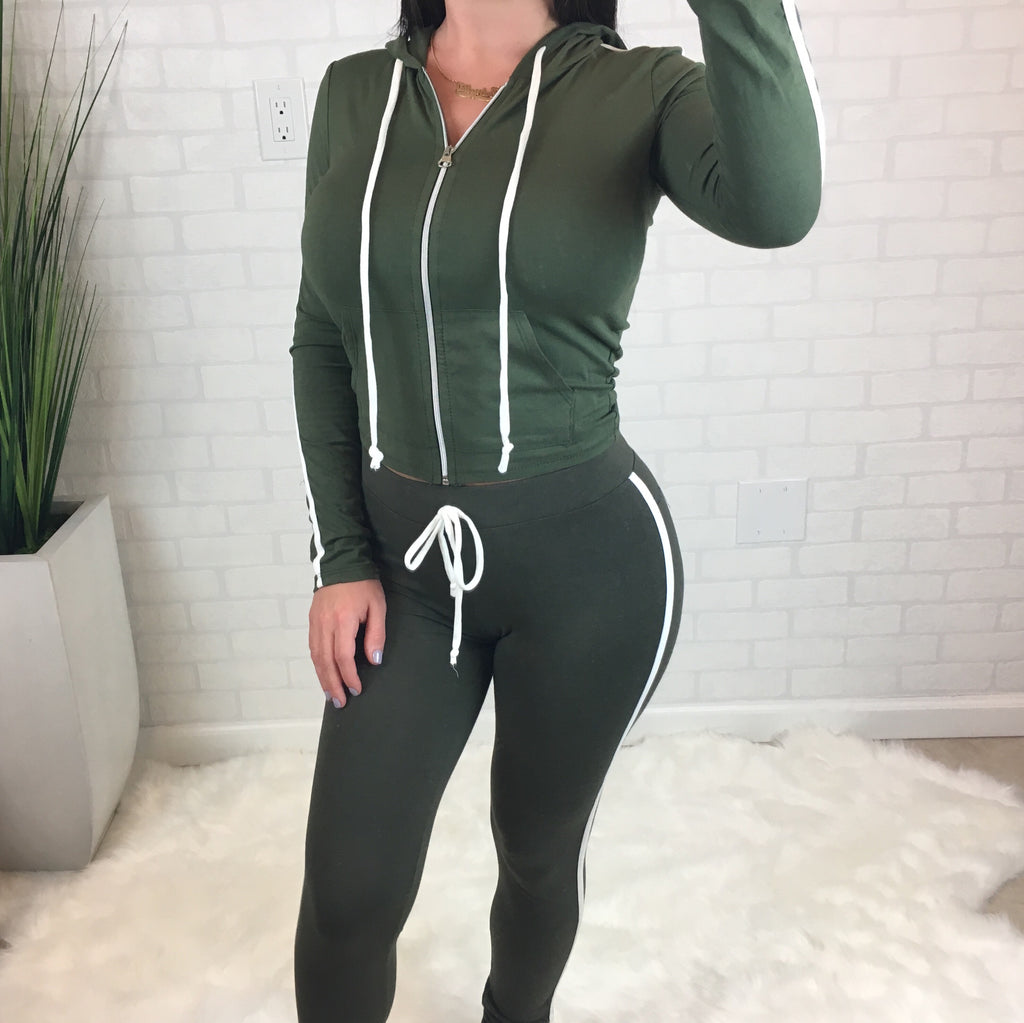 Side Stripe High Rise Leggings - Olive