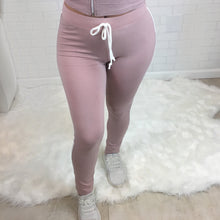 Side Stripe High Rise Leggings - Mauve