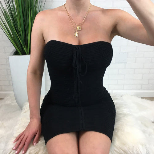 Drawstring Tube Dress - Black