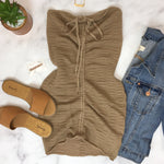 Drawstring Tube Dress - Mocha