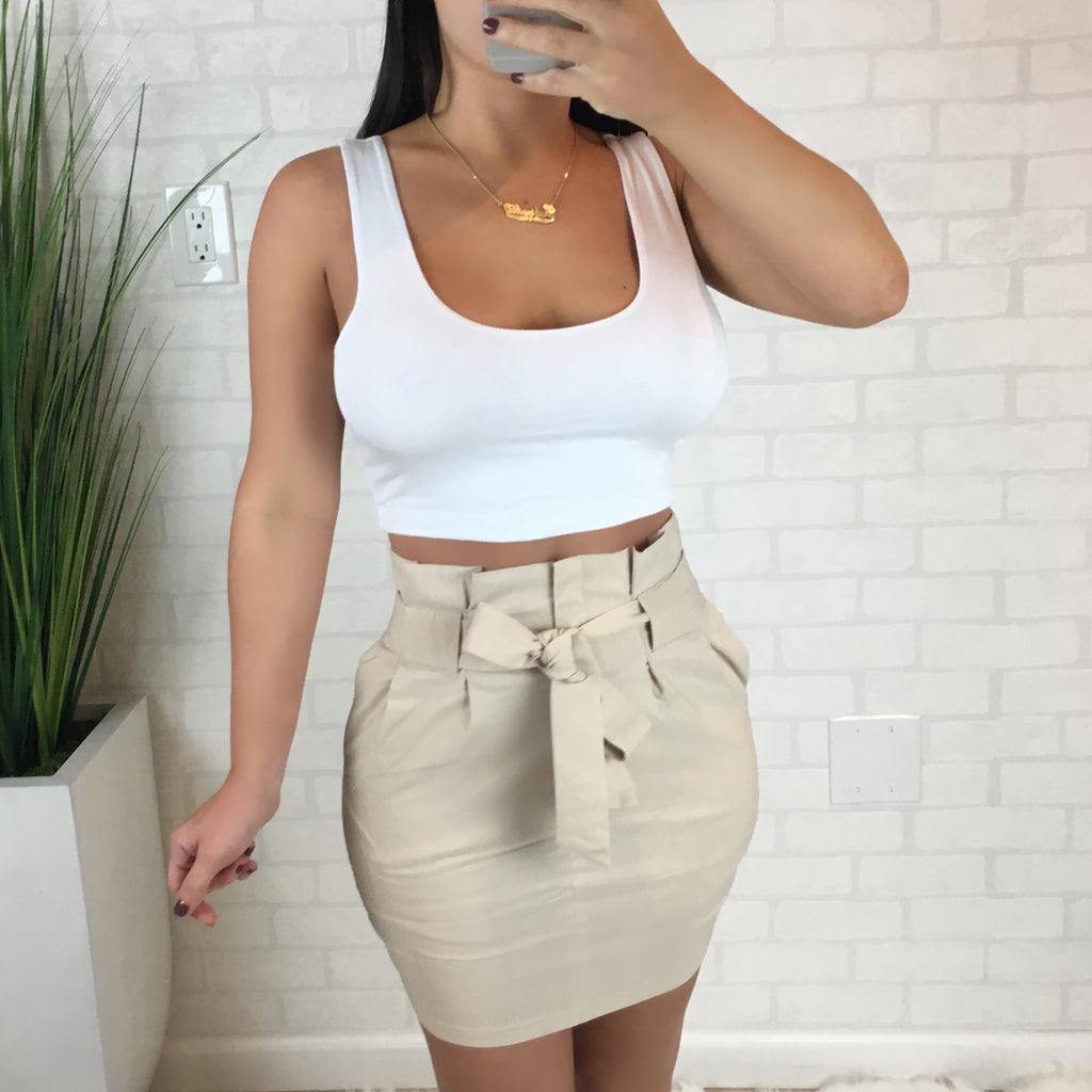 Tie Front Mini Skirt - Khaki