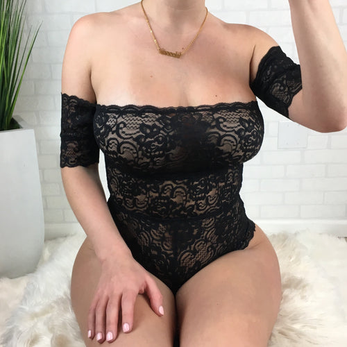 Off The Shoulder Lace Bodysuit - Black