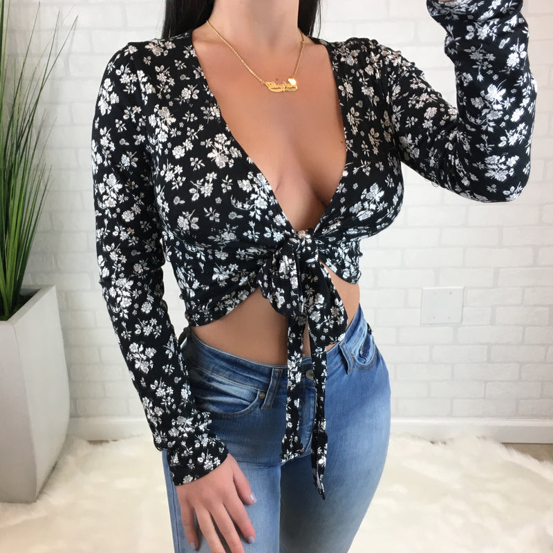 Floral Tie Front Crop Top - Black