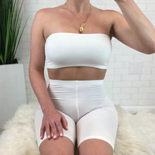 Tube Top & Biker Short Set - White