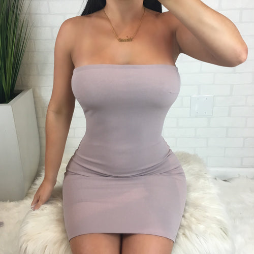 Bodycon Tube Dress - Light Mauve