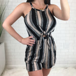 Front Tie Cut Out Romper - Black