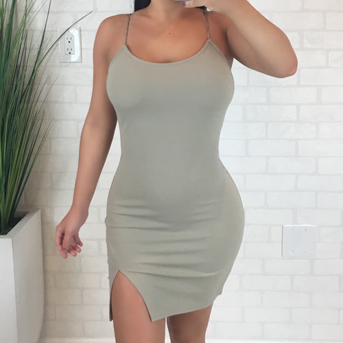 Solid Bodycon Side Slit Mini Dress - Taupe