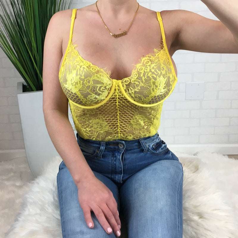 Lace Bodysuit - Yellow