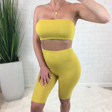 Tube Top & Biker Short Set - Yellow