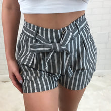 Linen High Rise Tie Front Shorts - Nautical Stripe