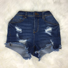 Distressed Denim Shorts - Medium Blue