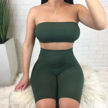 Tube Top & Biker Short Set - Olive