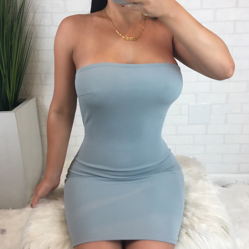 Bodycon Tube Dress - Light Blue
