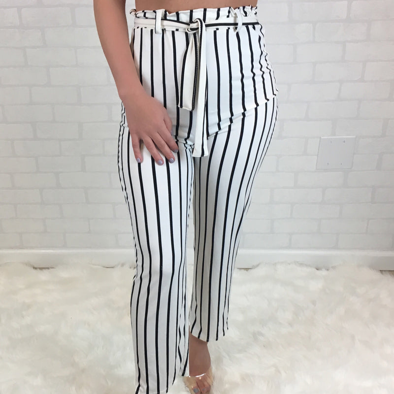 Striped Crop Top & High Rise Pant Set - White