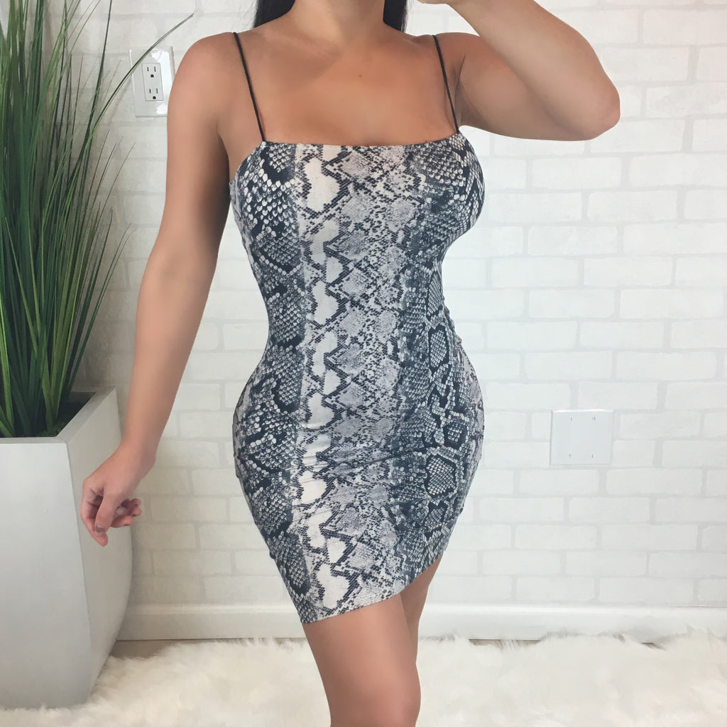 Snake Print Mini Bodycon Dress
