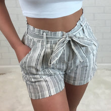 Linen High Rise Tie Front Shorts - White Stripe