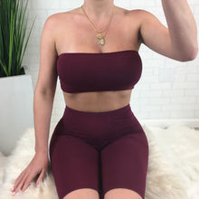 Tube Top & Biker Short Set - Burgundy