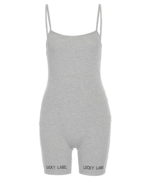 The Lucky Label Rib Knit Cami Romper