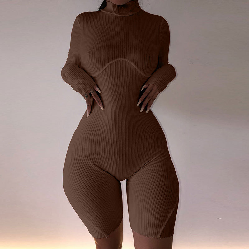 Neutral Edition Rib Knit Long Sleeve Biker Short Romper