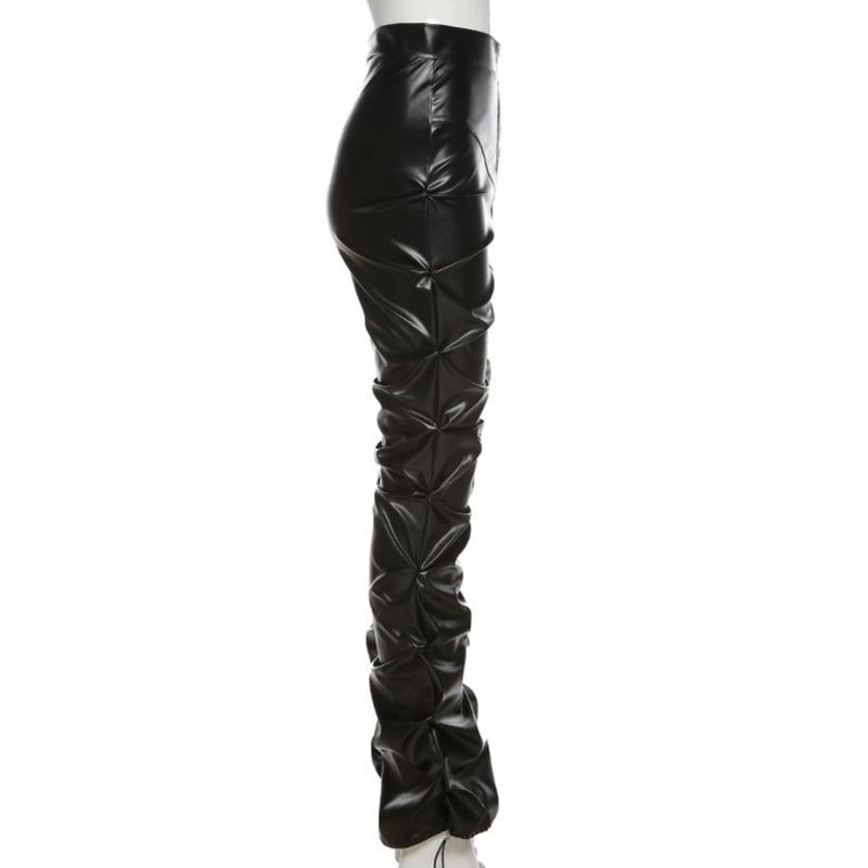 Faux Leather High Waist Stacked Pants
