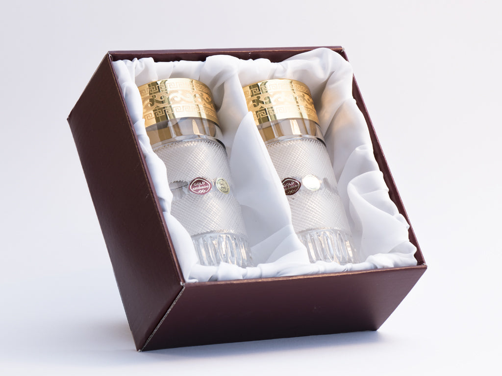 Gold decor tumblers set box