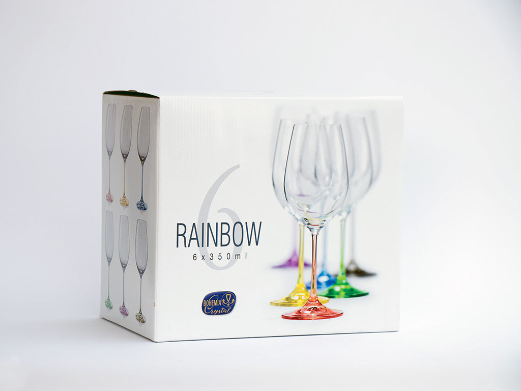 Rainbow wine glasses box