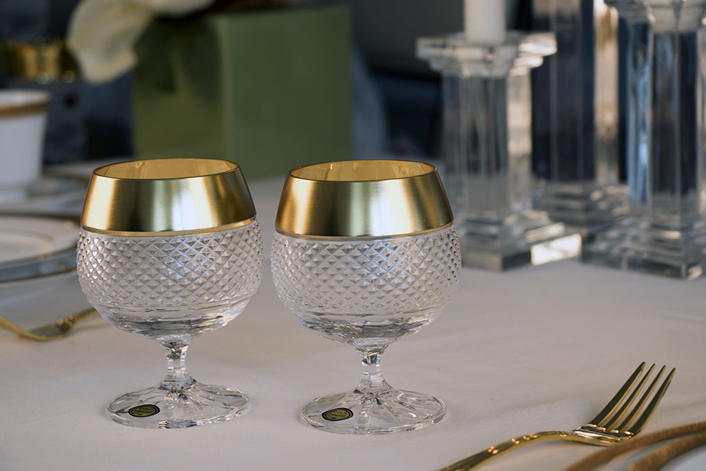 Exclusive Gold Decor Set of 6 Brandy Glasses 8.4oz each