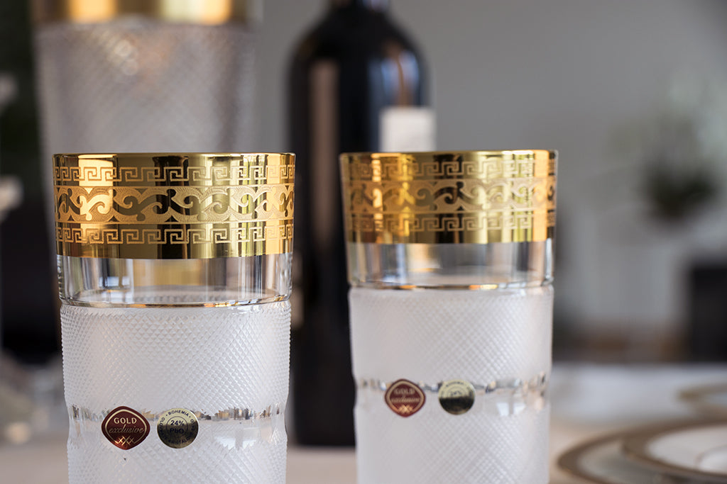Gold decor tumblers set