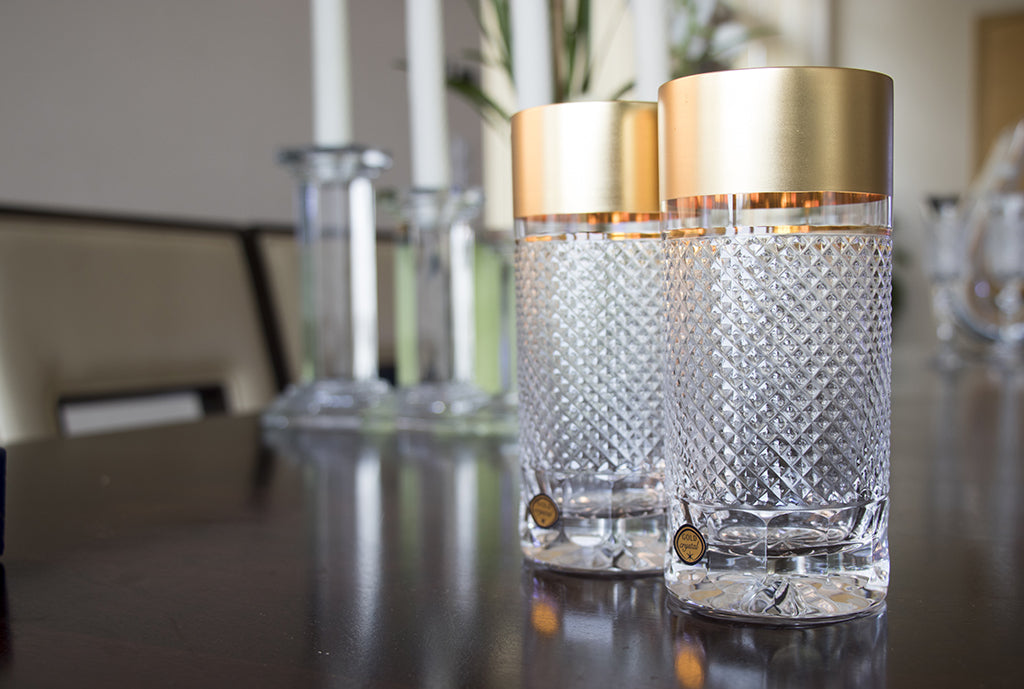 Gold decorated tumblers set
