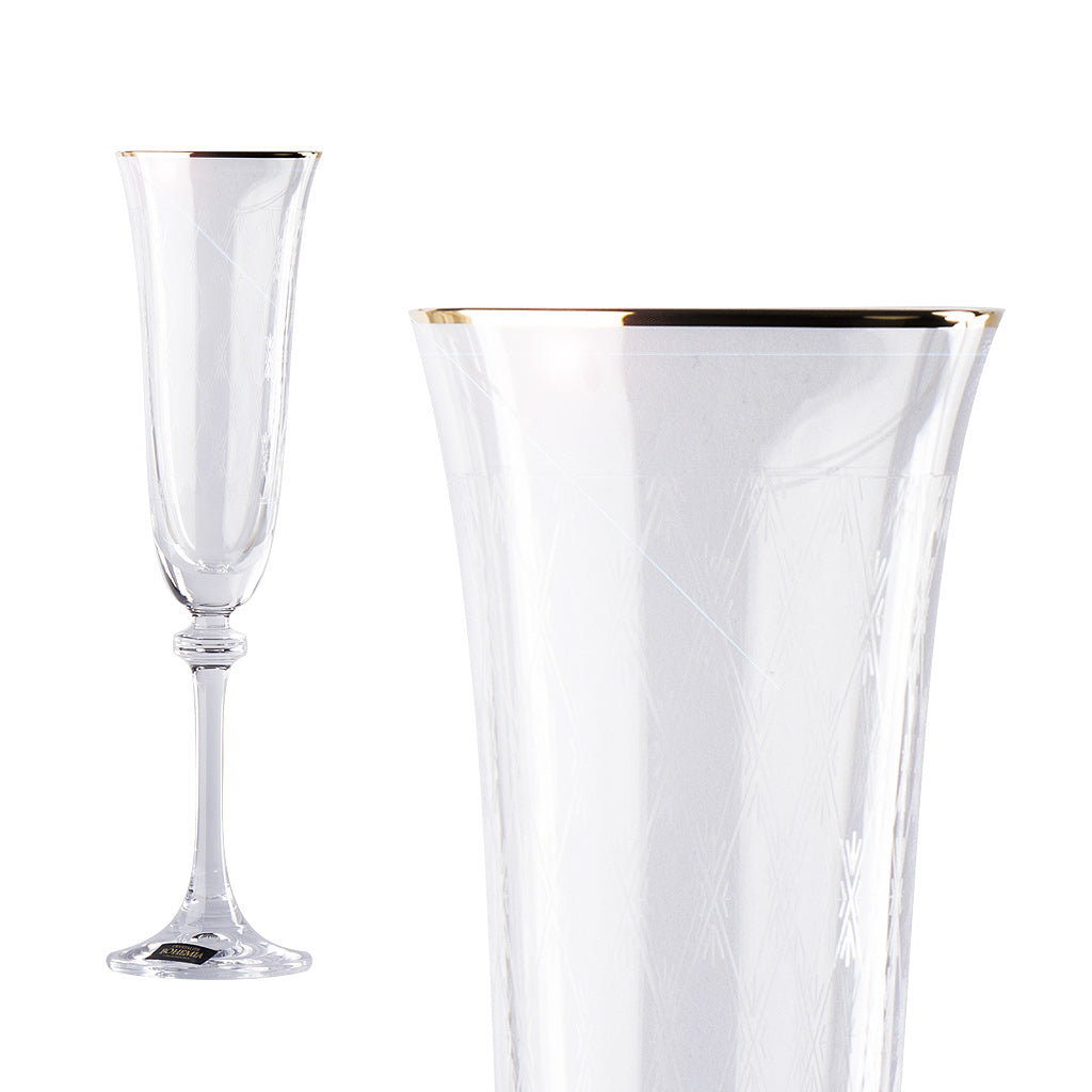 Champagne glass with gold rim decor