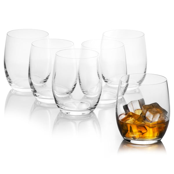 Club Whiskey Tumblers Set of 6 Glass (10 oz)