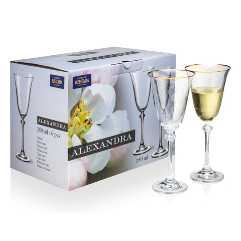 Alexandra gold rimmed white wine glasses set of 6 (8.4 oz)