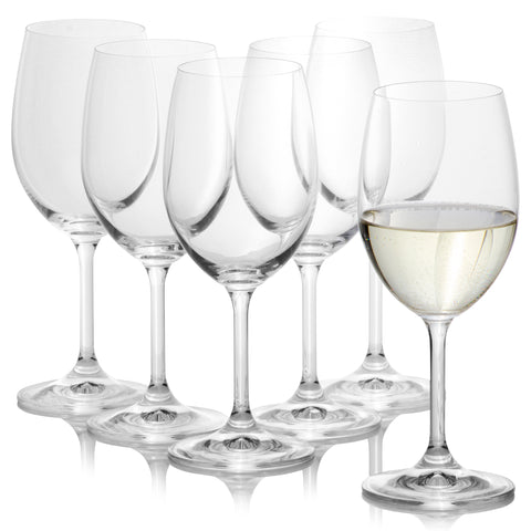 Lara White wine glasses Set of 6 (11.8 oz)