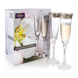 Alexandra Platinum Champagne Flutes Set of 6 (6.4 oz)