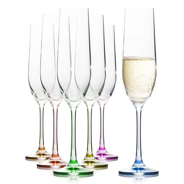 Rainbow Champagne Flutes Set of 6 (6.4 oz)