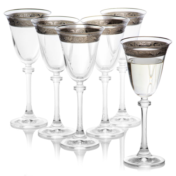 Alexandra Platinum Decor custom hand painted wine glasses set of 6 (6.2 oz)