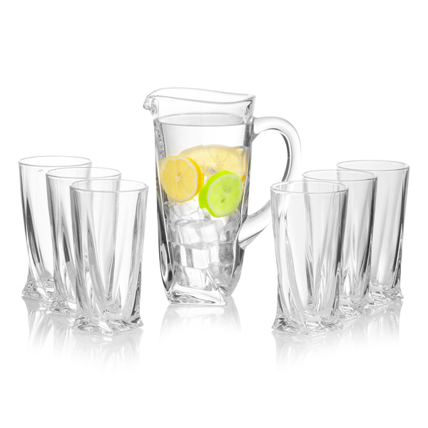 Quadro Premium Water Tumblers and Jug Set of 6+1 (11.8 oz)