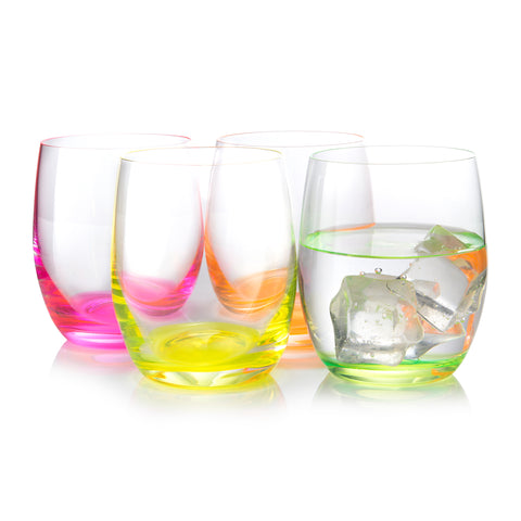 Neon Multi Colored Tumbler Set of 4 (10 oz)