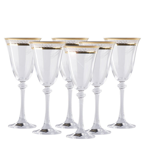 Gold decorated Crystalite Bohemia Wine Glasses Set of 6 / 8.4 oz each