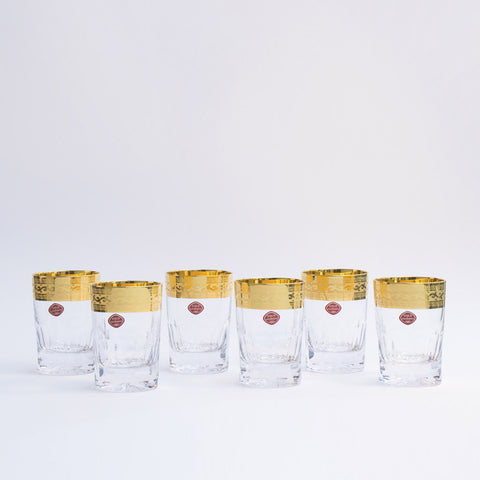 Bohemia Crystal Gold Decor Tumblers Premium Set of 6 (5.74 oz)