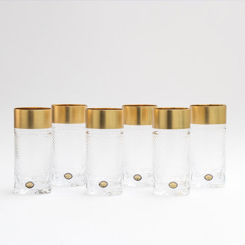 Bohemia Crystal Gold Decor Tumblers Exclusive Set of 6 (11.8 oz)