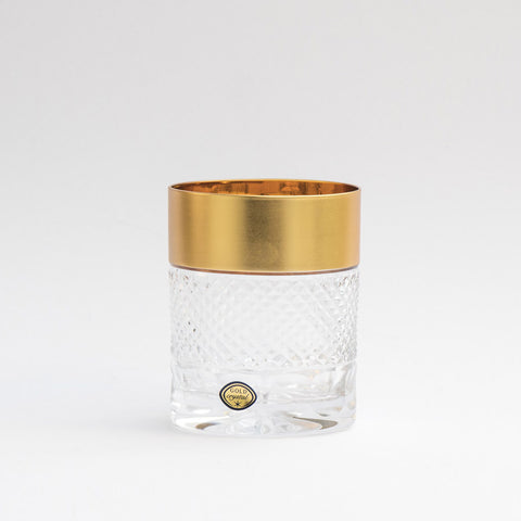 Bohemia Crystal Gold Decor Whiskey Tumblers Exclusive Set of 6 (10.8 oz)