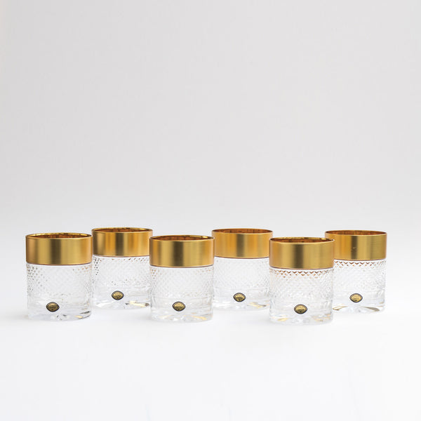 Gold Decor Whiskey  Tumblers Exclusive  Set of 6 / 10.8oz each