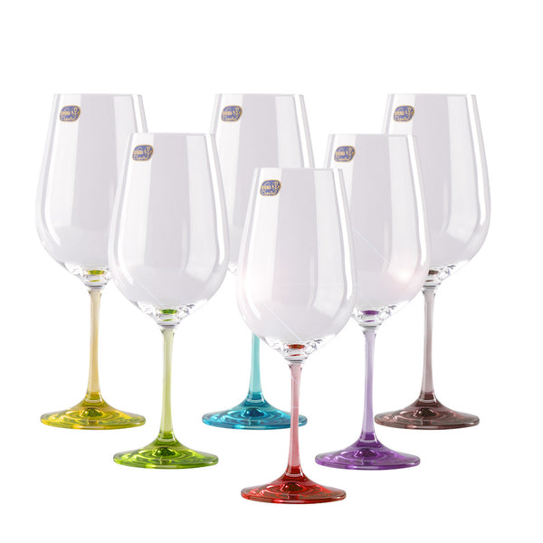 Rainbow colored wine glass set of 6 / 18.5 oz each