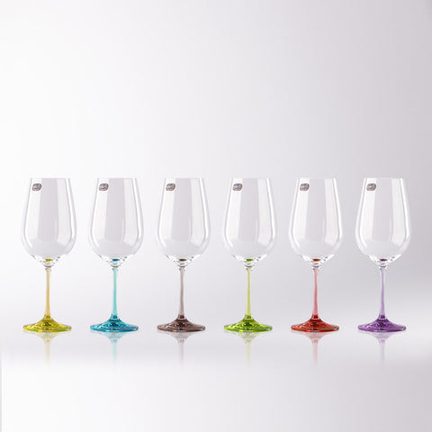 Rainbow Colored Wine Glasses Set of 6 (18.5 oz)