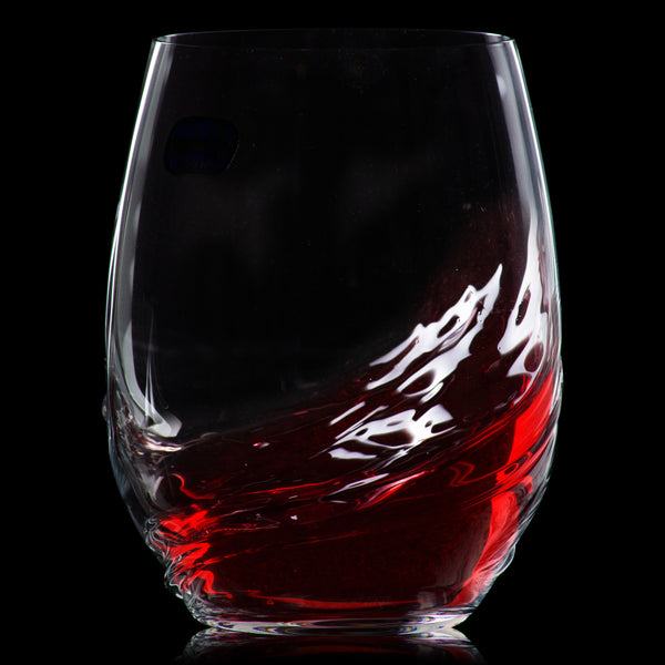 Veenu Crystal Nemours Stemless Red Wine tumblers set of 2 (16.9 Oz)