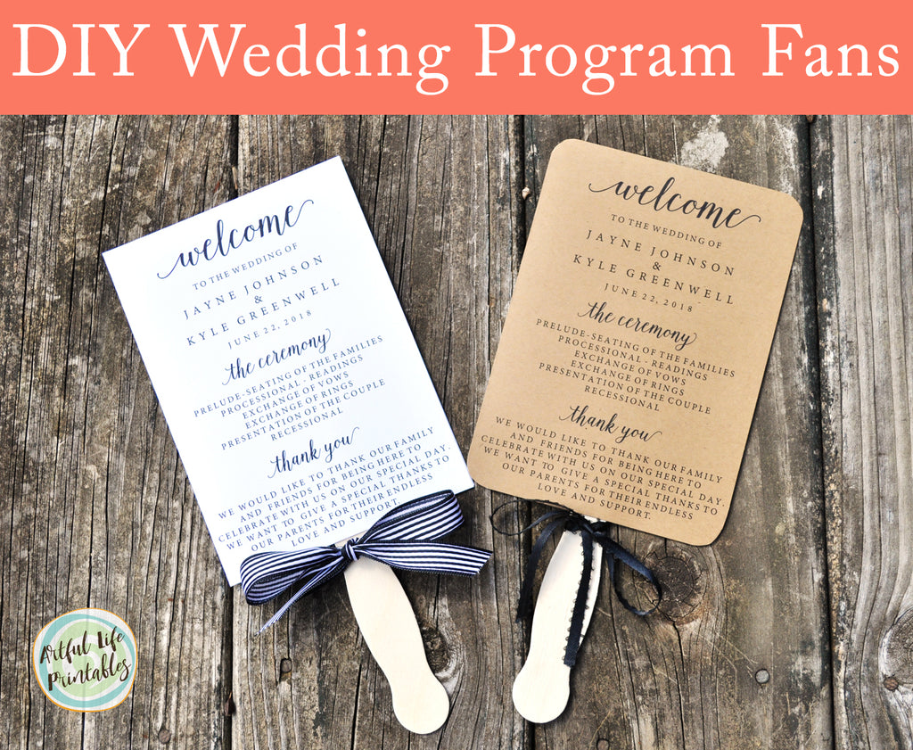 Diy Wedding Program Fans Artful Life Designs