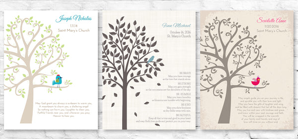 Personalized Baptism Tree Prints