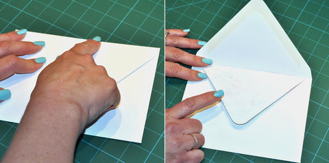 Fold envelope flap up leaving liner folded down